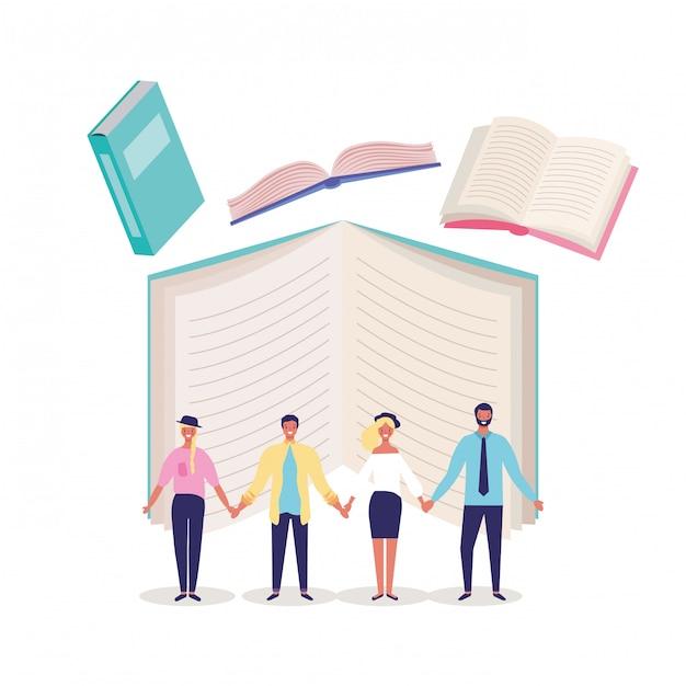 Bücher und bildungskarikaturen Premium Vektoren