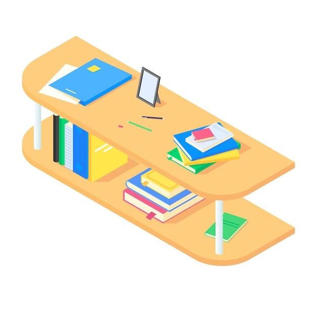 Bücher und kanzlei auf braunem hölzernen bücherregal in isometrischer Premium Vektoren
