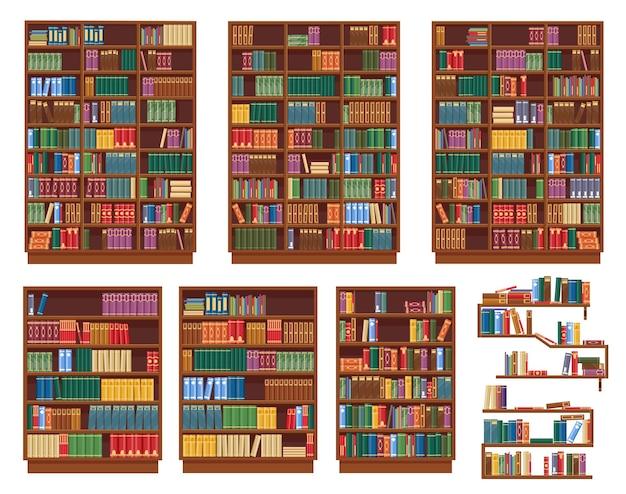 Bücherregal, bücherregal mit büchern, bibliotheksregale, isolierte gestellsymbole. bücherregale oder bücherregale aus holz, klassische alte bibliothek, buchhandlung oder buchhandlungsregale mit stapeln stehender bücher Premium Vektoren