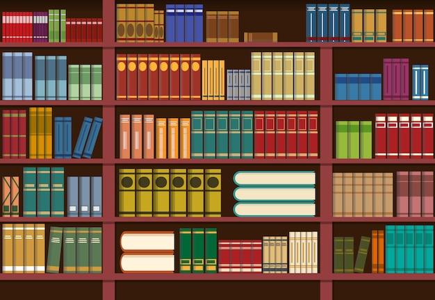 Bücherregal in der bibliothek, wissensillustration Premium Vektoren