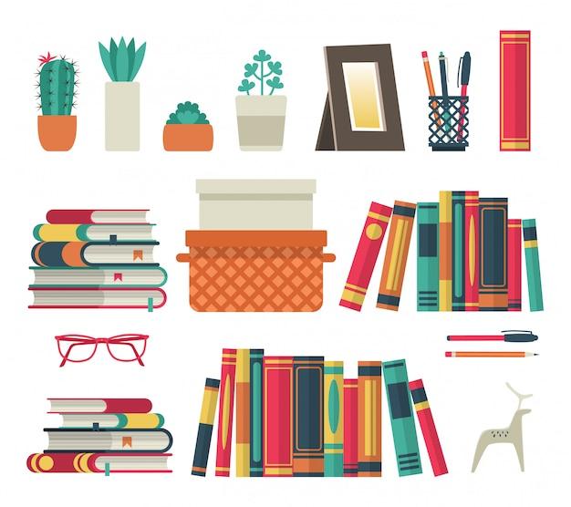 Bücherregale eingestellt. flaches regalbuch in der raumbibliothek, lesebuch büroregal wandinnenstudie schule isolierte sammlung Premium Vektoren
