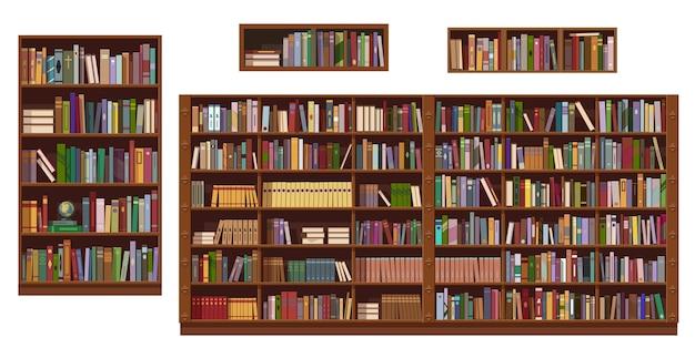 Bücherregale und bücherregal der bibliothek oder buchhandlung, bildung. Premium Vektoren