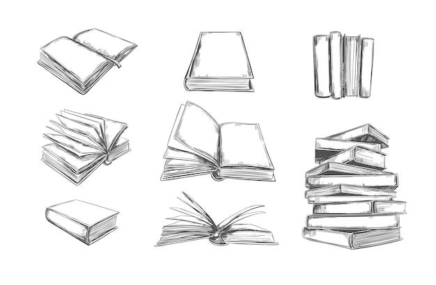 Büchersammlung in handgezeichneter technik Premium Vektoren