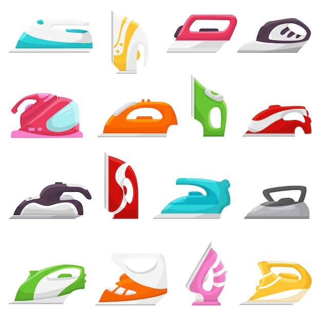 Bügeln sie den vektor, der elektrisches haushaltsgerät der wäschereihausarbeit bügelt Premium Vektoren