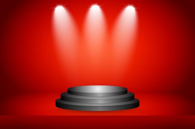 Bühne auf rotem hintergrund Premium Vektoren