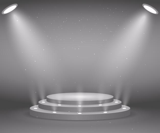 Bühne mit lichtern für die preisverleihung. beleuchtetes rundes podium. sockel. Premium Vektoren