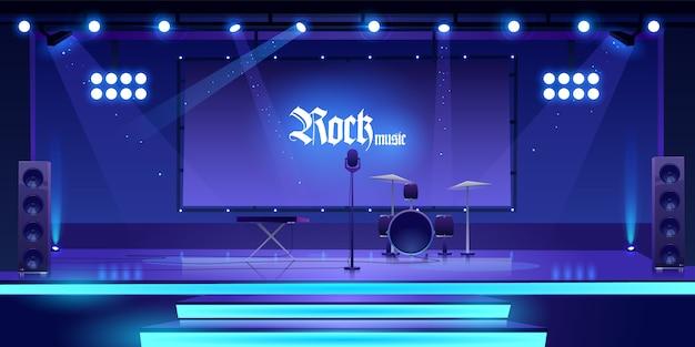 Bühne mit rockmusikinstrumenten und -ausrüstung Kostenlosen Vektoren