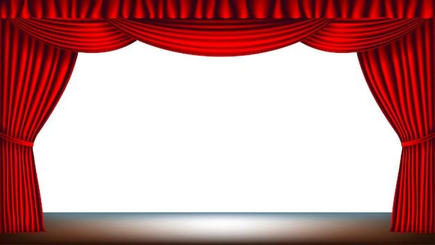 Bühne mit rotem vorhang und leerem weißem hintergrund Premium Vektoren