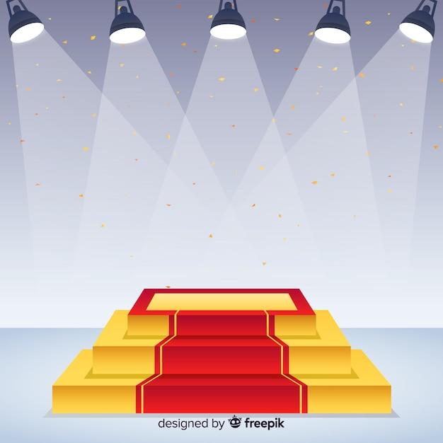 Bühne podium hintergrund mit beleuchtung Kostenlosen Vektoren