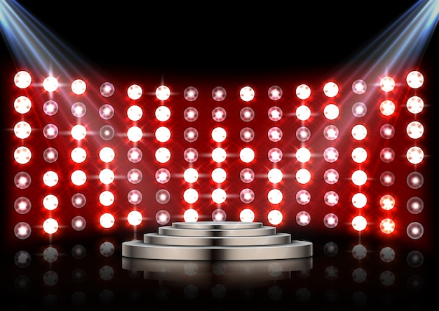 Bühne podium mit strahlern und roten bühnenlicht hintergrund Premium Vektoren