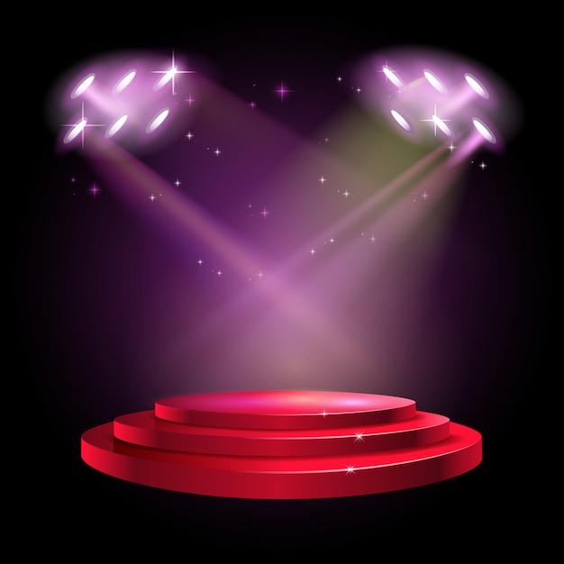 Bühne podium szene mit für preisverleihung auf rotem hintergrund Premium Vektoren