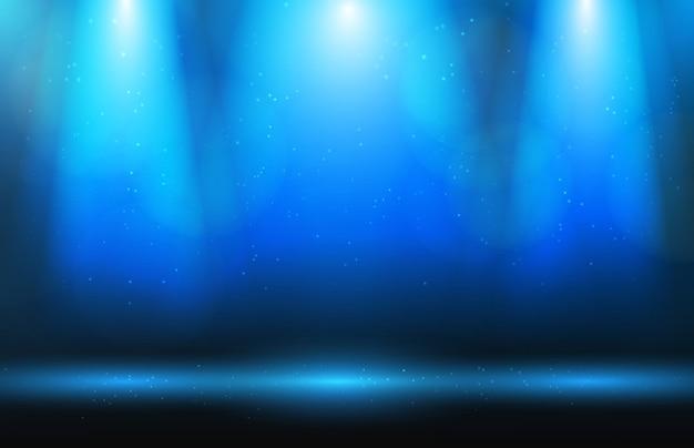 Bühne und scheinwerfer und staub auf blauem hintergrund Premium Vektoren