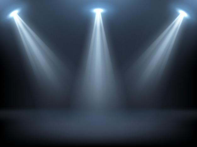 Bühne von scheinwerfern beleuchtet Kostenlosen Vektoren