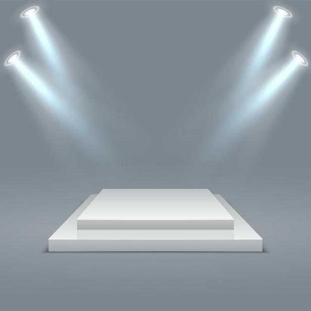 Bühnenpodest gewinner szene mit beleuchtung Premium Vektoren