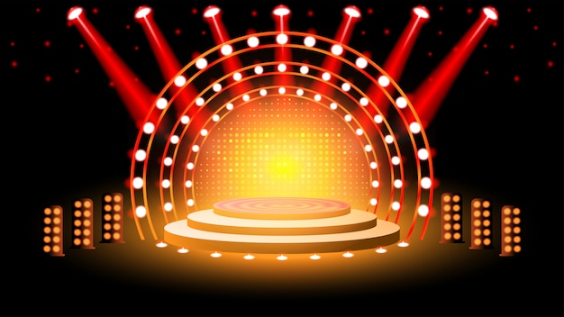 Bühnenpodest mit beleuchtung Premium Vektoren