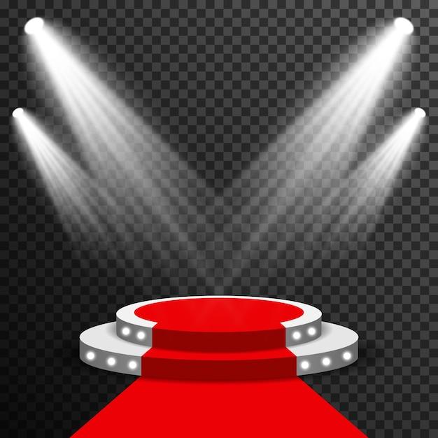 Bühnenpodium belichtet mit dem transparenten vektor des roten teppichs Premium Vektoren