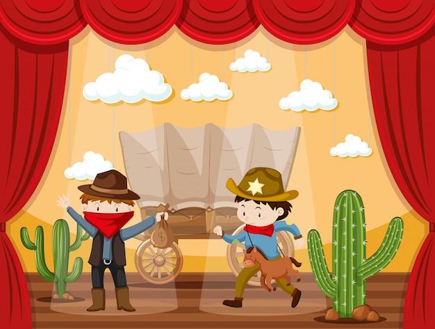 Bühnenspiel mit zwei cowboys Premium Vektoren