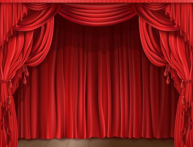 Bühnenvorhang realistisch Kostenlosen Vektoren