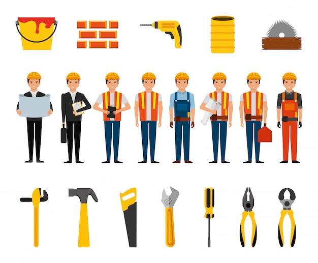 Bündel bauarbeiter und werkzeuge Kostenlosen Vektoren