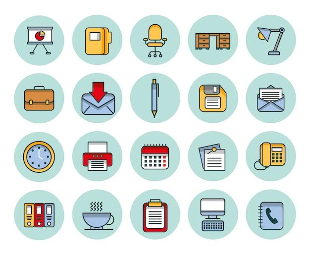 Bündel gesetzte ikonen des geschäfts Kostenlosen Vektoren