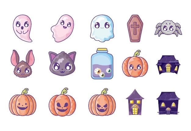 Bündel halloween mit eingestellten ikonen Premium Vektoren