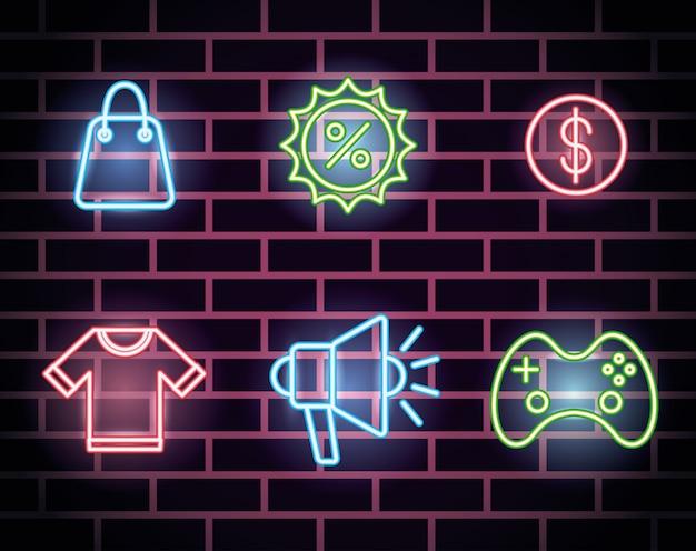 Bündel neonlichtikonen Kostenlosen Vektoren