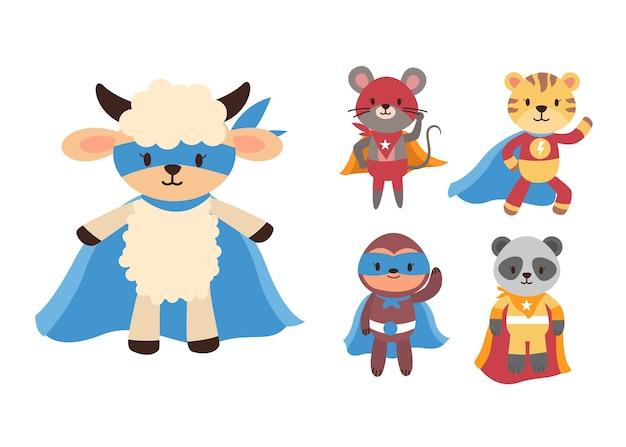 Bündel niedlichen tierkarikatur mit superheldenmaskottchen-zeichensammlung Kostenlosen Vektoren