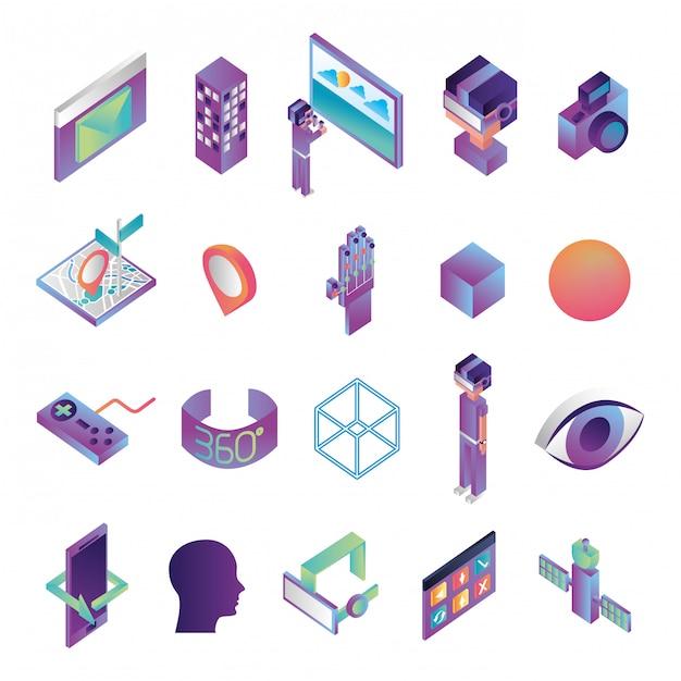 Bündel technologieikonen der virtuellen realität Kostenlosen Vektoren