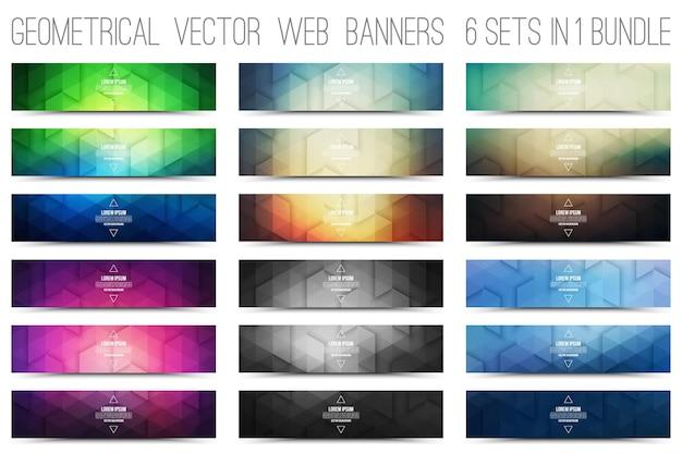 Bündel von abstrakten geometrischen farbigen bannern Premium Vektoren