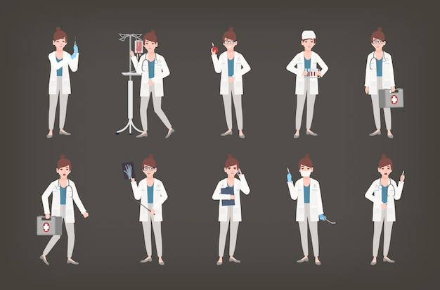 Bündel von ärztinnen, ärzten oder chirurgen, die in verschiedenen haltungen stehen. satz frau im weißen kittel, der medizinische ausrüstung hält - spritze, thermometer, skalpell, erste-hilfe-satz. illustration. Premium Vektoren