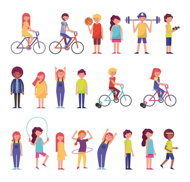 Bündel von community-leuten, die aktivitäten ausführen Kostenlosen Vektoren