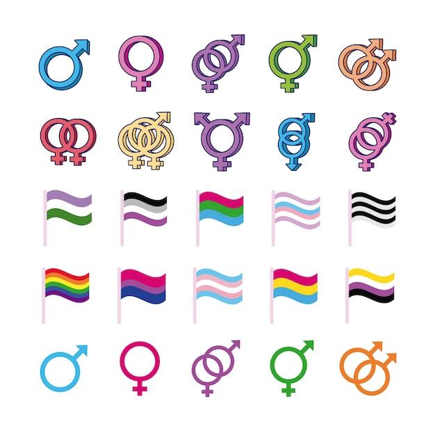 Bündel von geschlechtssymbolen der sexuellen orientierung und des flaggen-mehrfachstilikonen-vektorillustrationsdesigns Premium Vektoren