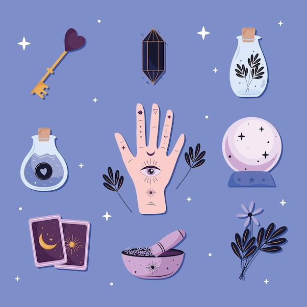 Bündel von neun esoterischen satzikonen im blauen hintergrundillustrationsdesign Premium Vektoren