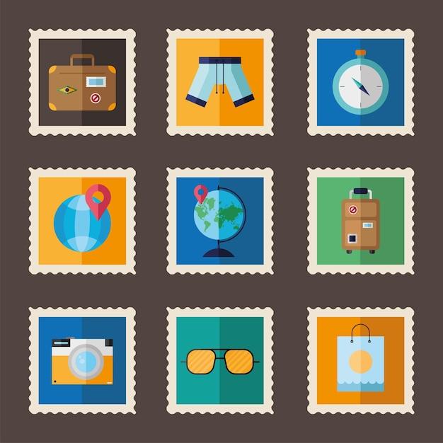 Bündel von neun ferien setzen stempelsymbole Premium Vektoren