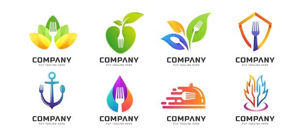 Bündeln sie kreative gabellöffel-restaurantlogosammlung Premium Vektoren