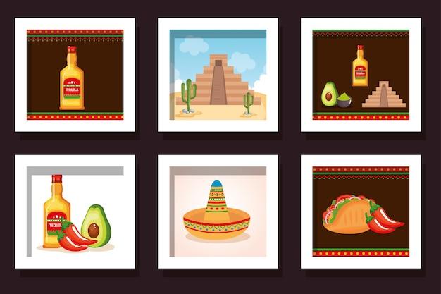 Bündeln sie lebensmittel mit den traditionellen ikonen mexiko Premium Vektoren