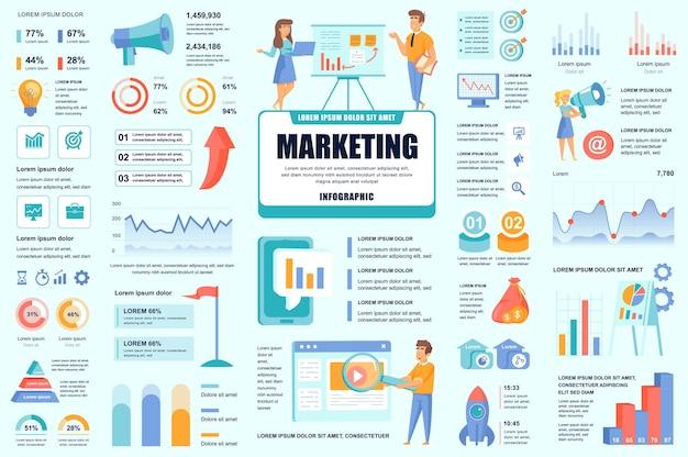 Bündeln sie marketing- und promo-infografik-ui-, ux- und kit-elemente Premium Vektoren