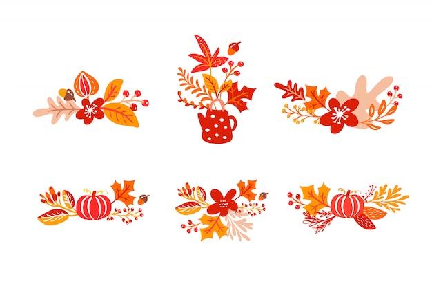 Bündelsatz orange herbstlaubblumensträuße mit teekanne Premium Vektoren