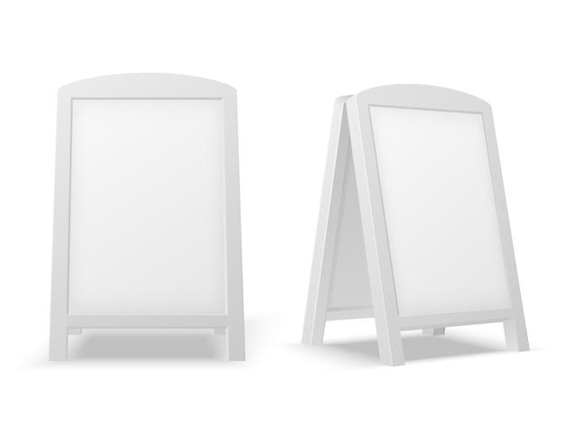 Bürgersteig anzeigetafel. leerer leerer weißer werbungsstand. verkaufszeichen oder straßenfahne. getrenntes modell des vektors 3d Premium Vektoren