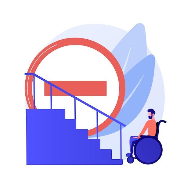 Bürgersteig für behinderte menschen. fehlende bedingungen für menschen mit behinderungen. behinderte frau im rollstuhl. barrierefreie umgebung, zugänglichkeit. vektor isolierte konzeptmetapherillustration Kostenlosen Vektoren