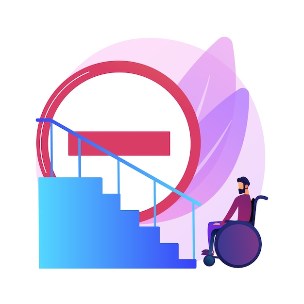 Bürgersteig für behinderte menschen. fehlende bedingungen für menschen mit behinderungen. behinderte frau im rollstuhl. barrierefreie umgebung, zugänglichkeit. Kostenlosen Vektoren