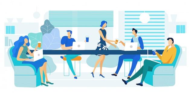 Büro-cafeteria, mittagessen-zonen-illustration Premium Vektoren