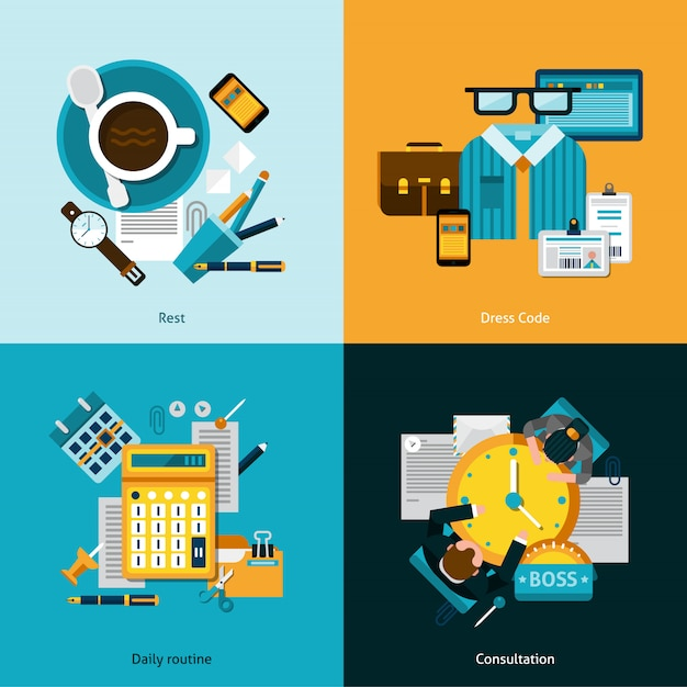 Büro-flat-set Kostenlosen Vektoren