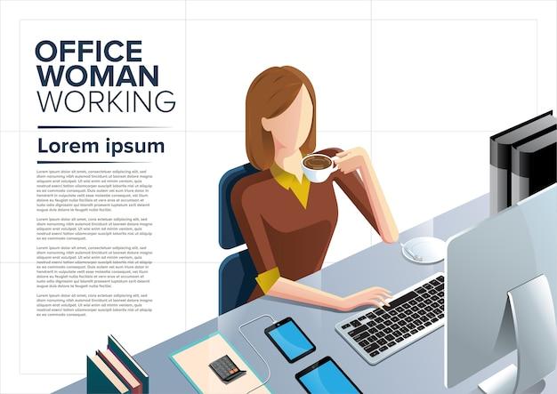 Büro frau clipart kostenlos  Büro frau arbeiten clipart | Download der Premium Vektor
