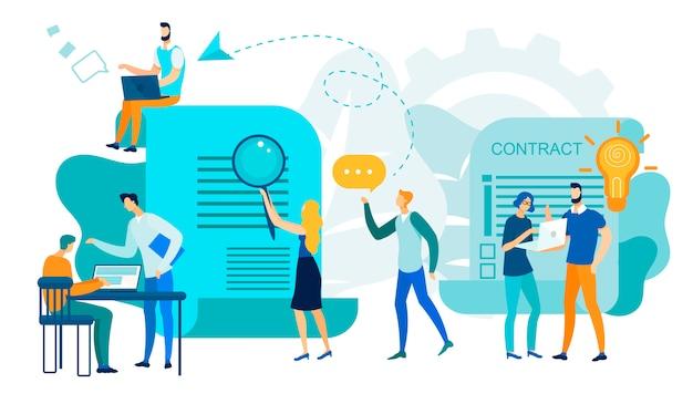 Büro-geschäftsleute team work, vertragsunterzeichnung Premium Vektoren
