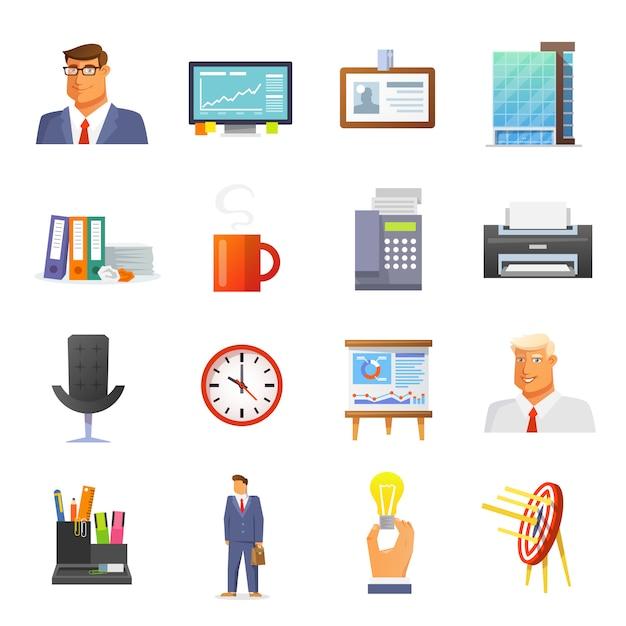 Büro icons flat set Premium Vektoren