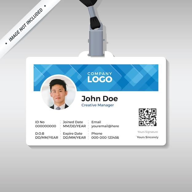 Büro-id-kartenschablone mit abstraktem blauem hintergrund Premium Vektoren