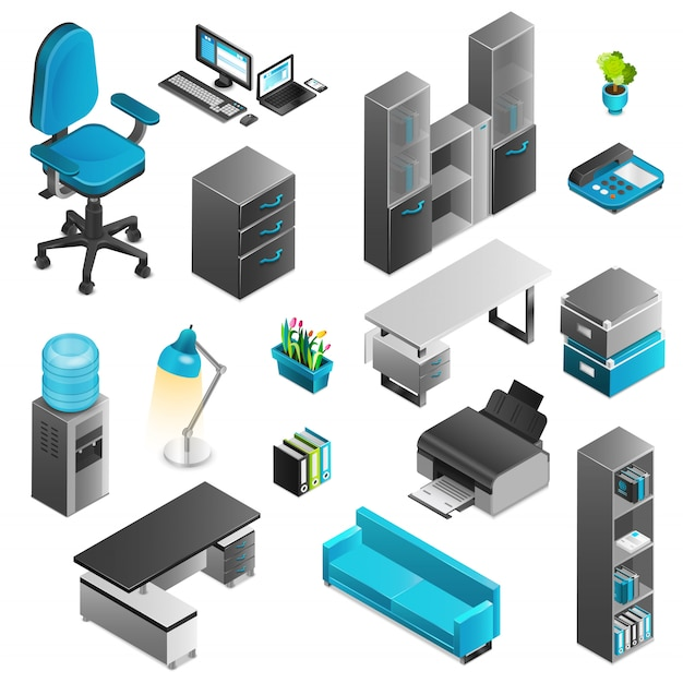 Büro-innen-icons set Kostenlosen Vektoren