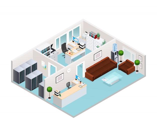 Büro interieur isometrische design Kostenlosen Vektoren