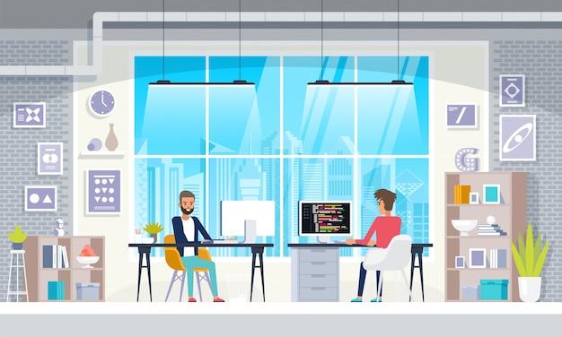 Büro interieur menschen im kreativen modernen arbeitsplatz interieur Premium Vektoren